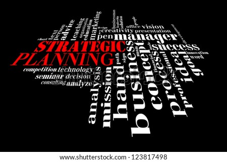 Info text graphic Strategic Planning in word shape isolated in black background