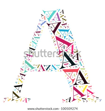 Info-text graphics and arrangement concept (word clouds) begin with alphabet A isolated white background - stock photo