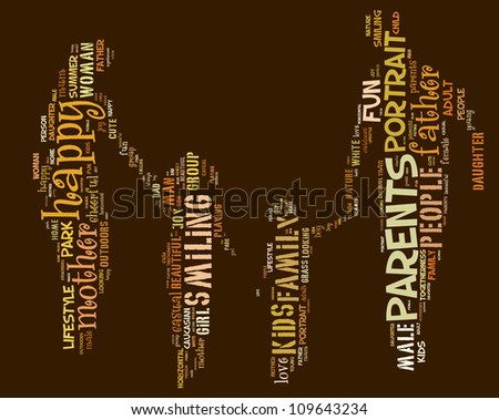Info-text graphics Family composed in Mother-Father-Daughter-Son shape concept in white background - stock photo