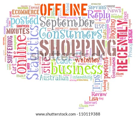 Info-text graphics Shopping composed in question tag shape concept in white background