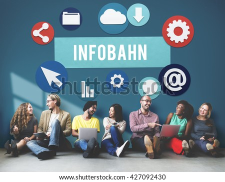 Infobahn Technology Network Online Concept - stock photo