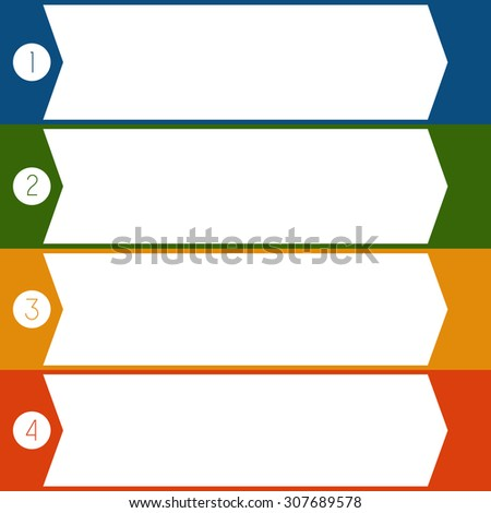 Infographic Colourful arrows template from white strips with text areas on 4 positions  - stock photo