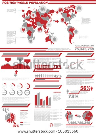 INFOGRAPHIC DEMOGRAPHICS  POPULATION 2 RED - stock photo