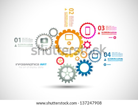 Infographic design template with gear chain. Ideal to display information, ranking and statistics with orginal and modern style. - stock photo