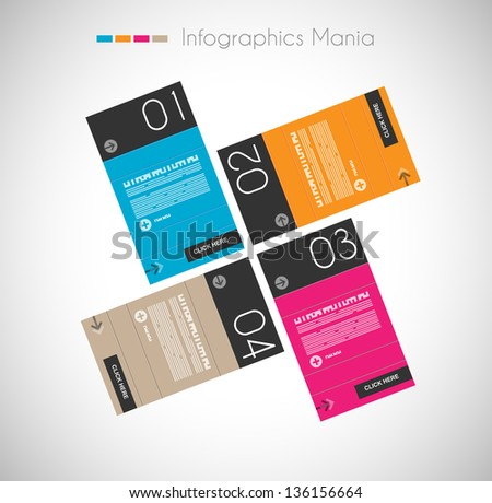 Infographic design template with paper tags. Idea to display information, ranking and statistics with orginal and modern style. - stock photo