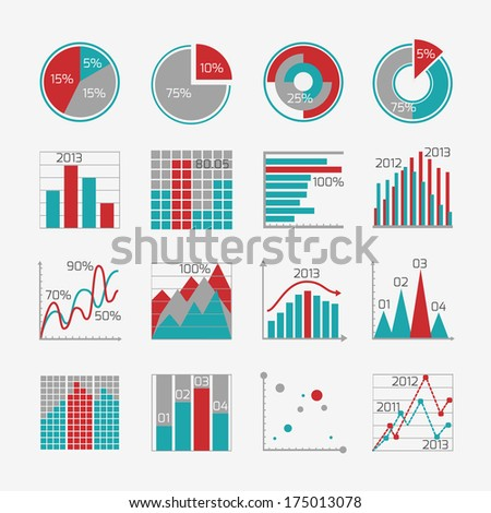 Infographic elements for business report presentation or website isolated  illustration - stock photo
