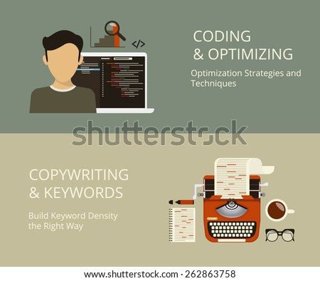 Infographic flat concept process of coding and copywriting as a part of SEO - stock photo
