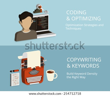Infographic isometric concept process of coding and copywriting as a part of SEO - stock photo