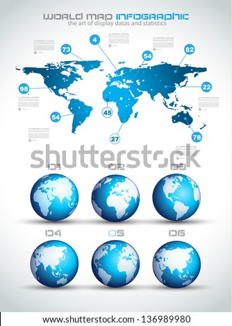 Infographic layout templatInfographic layout template with world maps. Ideal for global statistics and for every kind of data visualization. Delicate shadows and high costrast colours world maps. - stock photo