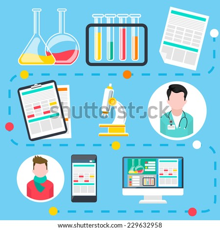Infographic of steps by online medical consultation and diagnosis with assorted medical icons flat design. Raster version - stock photo