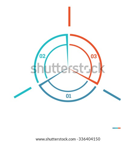 Infographic Pie chart template colourful circle from lines with text areas on 7 positions for workflow, banners, diagram, web design, timeline, area chart, number options, web sites, layouts - stock photo
