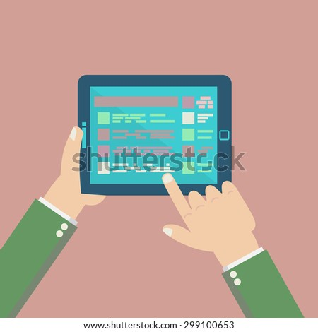 Infographic set elements on tablet with hands