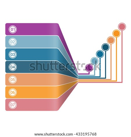Infographic Strips Perspective 7 position - stock photo
