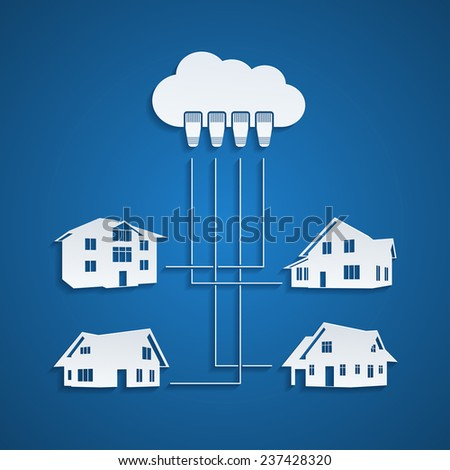 infographic template with houses silhouettes connected to the cloud with ethernet cable, social network, cloud, internet concept - stock photo