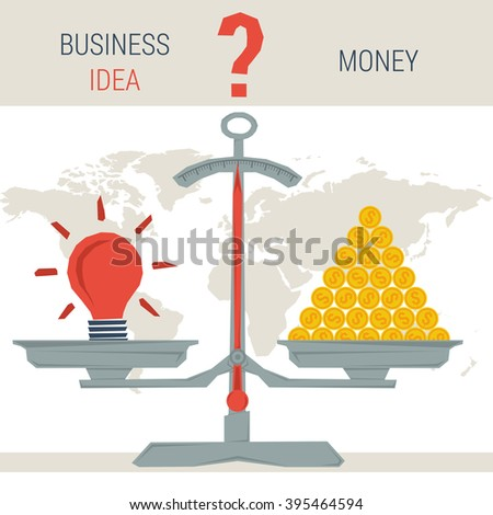 Infographic value business idea. Scales with idea lamp and pile of money coins. The question - money or value proposition. Flat style concept illustration. Web infographics - stock photo