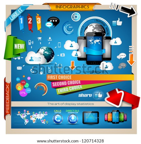 Infographic with Cloud Computing concept - set of paper tags, technology icons, cloud cmputing, graphs, paper tags, arrows, world map and so on. Ideal for statistic data display. - stock photo