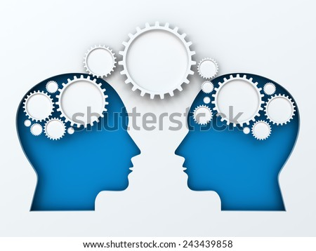 Infographic with paper cut heads and gears, with copyspace, 3d render - stock photo