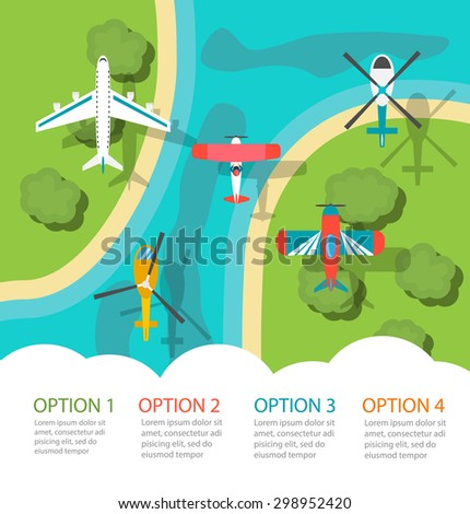 Infographic with planes and helicopters, top view. Air transport infographics - stock photo