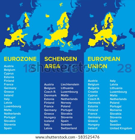 Infographics European Economic Associations Eurozone Schengen Stock