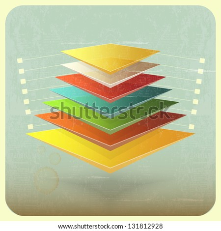 Infographics in retro style - Colorful Pyramid on Vintage Background. JPEG version. - stock photo
