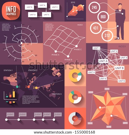 Infographics of flat design with long shadows. Raster version. - stock photo