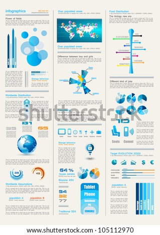 Infographics page with a lot of design elements like chart, globe, icons, graphics, maps, cakes, human shapes and so on. Ideal for business analisys rapresentation. - stock photo