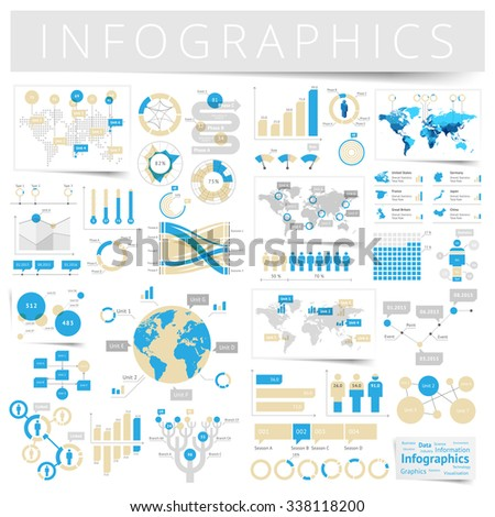 Infographics with data icons, world map charts and design elements. - stock photo