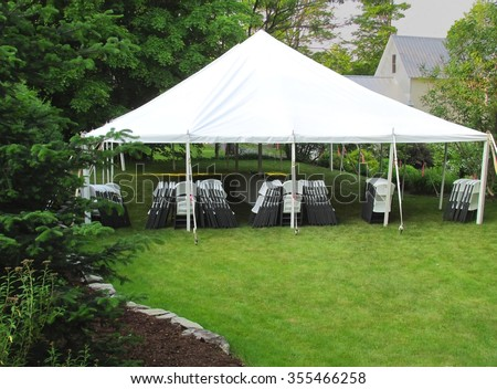 informal events tent in the backyard - stock photo