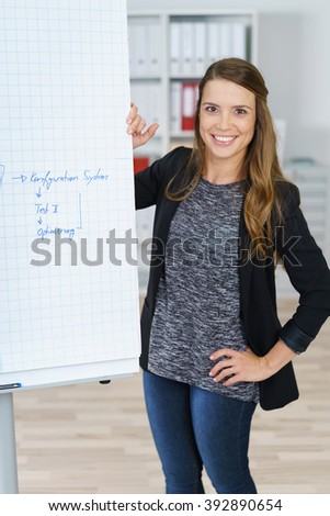 Informal young businesswoman giving a presentation standing in front of a flip chart with hand written notes smiling at the camera - stock photo