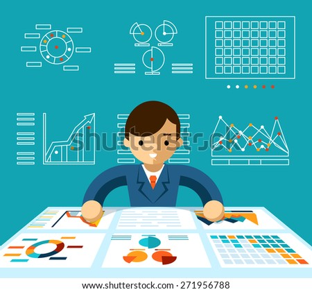 Information analysis. Monitoring economy, manager and progress and productive - stock photo