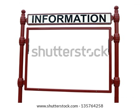 Information billboard isolated on white background - stock photo