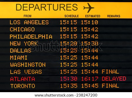 Information board with canceled flights at USA airport - stock photo
