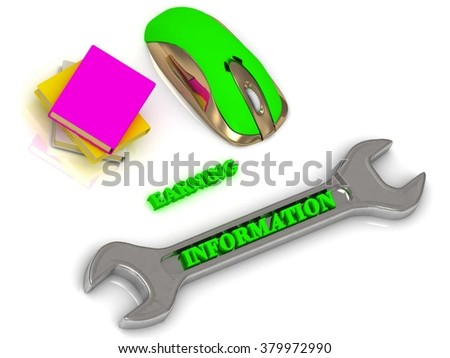 INFORMATION  bright volume letter on silver instrument, textbooks and computer mouse on white background - stock photo