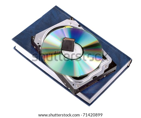 information carrier progress: book, HDD,CD and flesh card isolated on white background