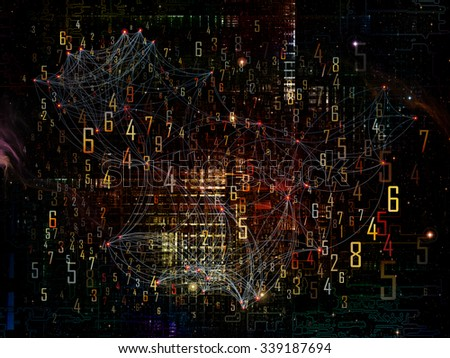 Information Cloud series. Abstract arrangement of connected abstract elements suitable as background for projects on cloud networking, information, data storage and modern technology - stock photo