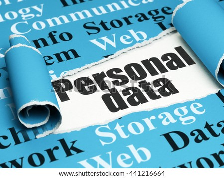 Information concept: black text Personal Data under the curled piece of Blue torn paper with  Tag Cloud, 3D rendering