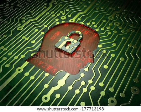 Information concept: circuit board with Head With Padlock icon, 3d render