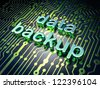 Information concept: circuit board with word data backup, 3d render - stock photo