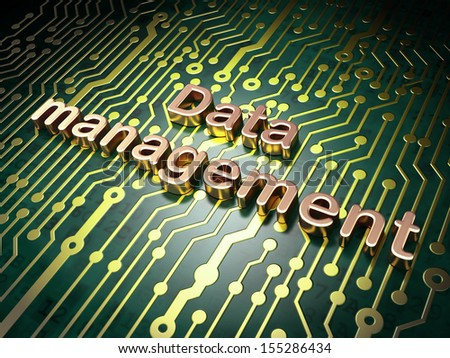 Information concept: circuit board with word Data Management, 3d render - stock photo