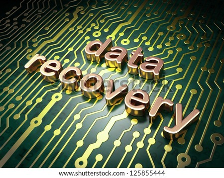 Information concept: circuit board with word Data Recovery, 3d render - stock photo