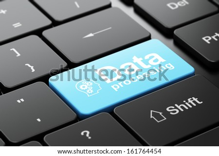 Information concept: computer keyboard with Head With Gears icon and word Data Processing, selected focus on enter button, 3d render - stock photo