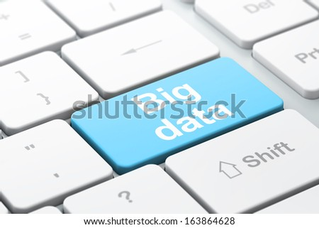 Information concept: computer keyboard with word Big Data, selected focus on enter button background, 3d render