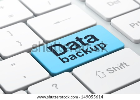 Information concept: computer keyboard with word Data Backup, selected focus on enter button background, 3d render - stock photo