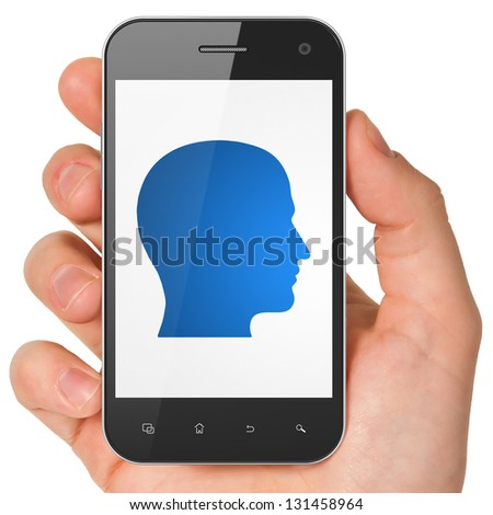 Information concept: hand holding smartphone with Head on display. Generic mobile smart phone in hand on White background. - stock photo