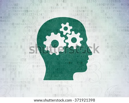 Information concept: Head With Gears on Digital Paper background - stock photo