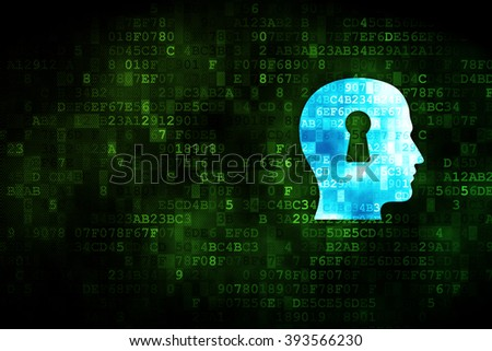 Information concept: Head With Keyhole on digital background