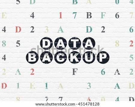 Information concept: Painted black text Data Backup on White Brick wall background with Hexadecimal Code