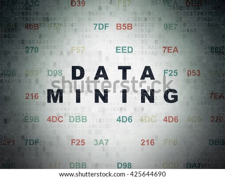 Information concept: Painted black text Data Mining on Digital Data Paper background with Hexadecimal Code - stock photo