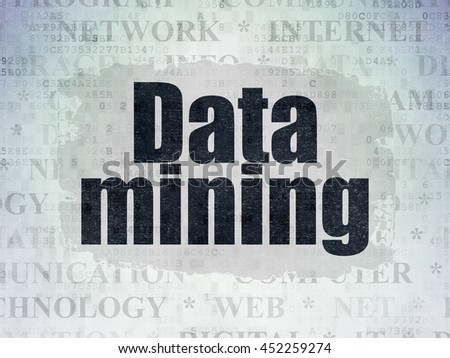 Information concept: Painted black text Data Mining on Digital Data Paper background with   Tag Cloud - stock photo