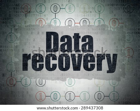Information concept: Painted black text Data Recovery on Digital Paper background with  Scheme Of Binary Code - stock photo
